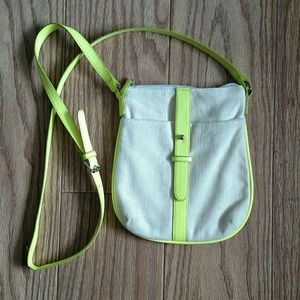 Old Navy Neon Green and Cream Small Crossbody